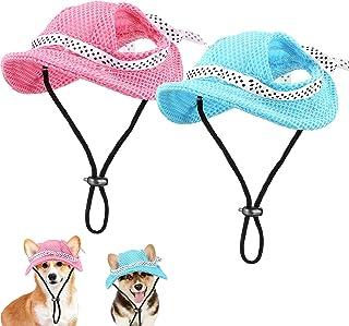 2 Pieces Round Brim Dog Princess Hat Pet Sun Protection Cap Mesh Porous Dog Visor Hat Dog Baseball Cap with Ear Holes for ...