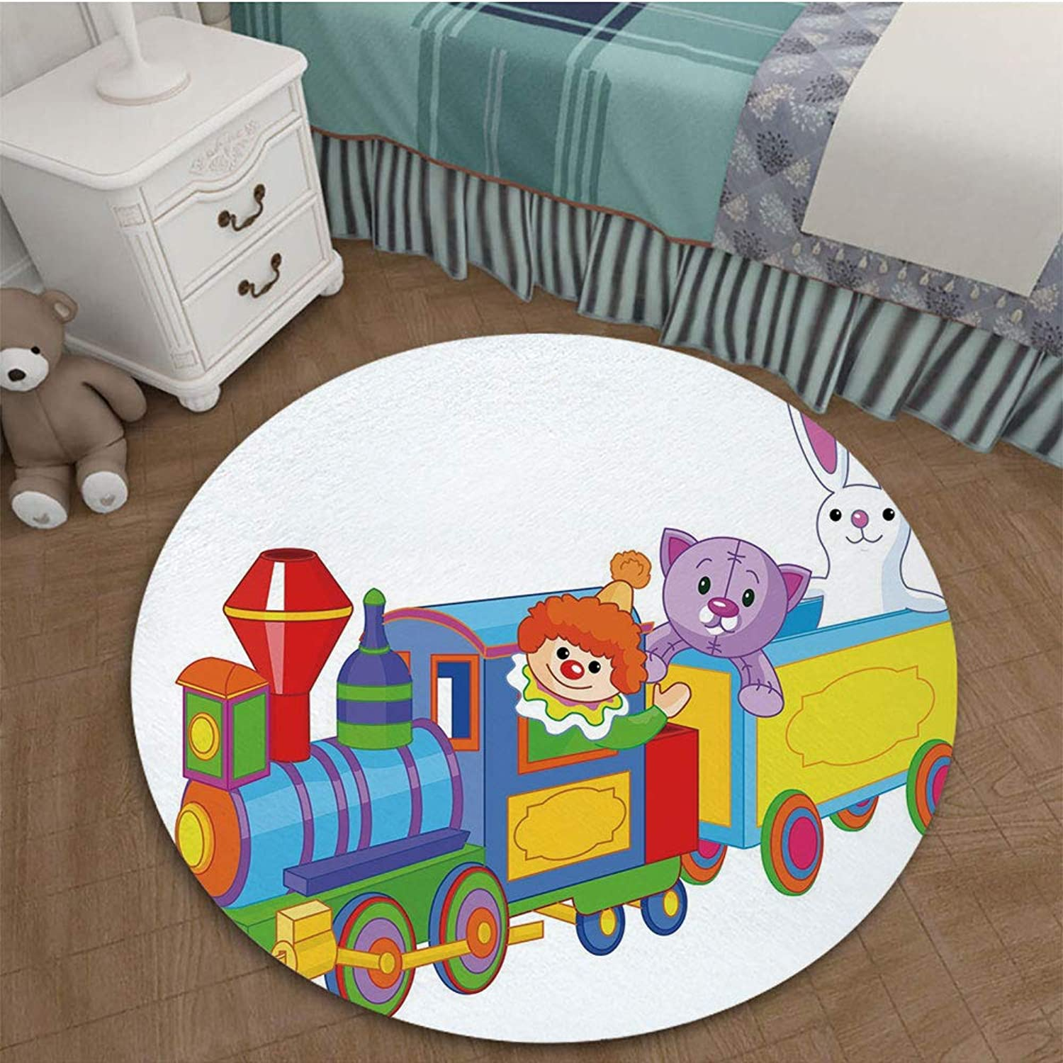 color Printed Carpet Anti-Slip Floor Rug Soft Baby for Living Room Bedroom 2.95 Ft Diameter Nursery,Clown Cat and Bunny Sitting in The Train Kids Toys Cartoon Style Funny Cheerful,Multicolor