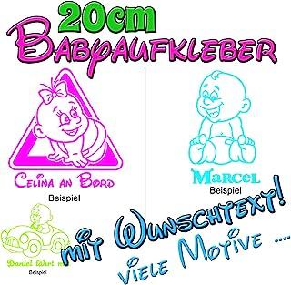 Babyaufkleber Kinderaufkleber On Board Sticker mit Wunschtext in 20cm Größe   viele Farben und Motive!