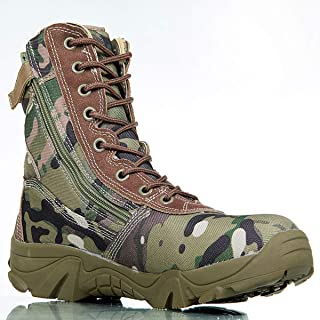 Aegilmc Men Camouflage Combat Tactical Boot, Sport Outdoor Hiking Delta Combat Boots Lace Work Utility Shoes for Jungle Trekking Shoes,41EU