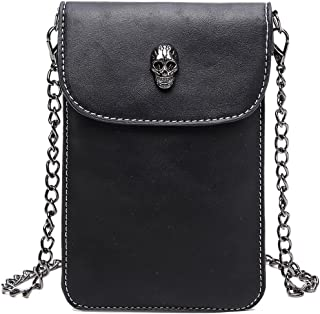 liangdongshop Skull Pattern Magenetic Button Metal Chain PU Leather Mini Shoulder Bag Cellphone Pouch
