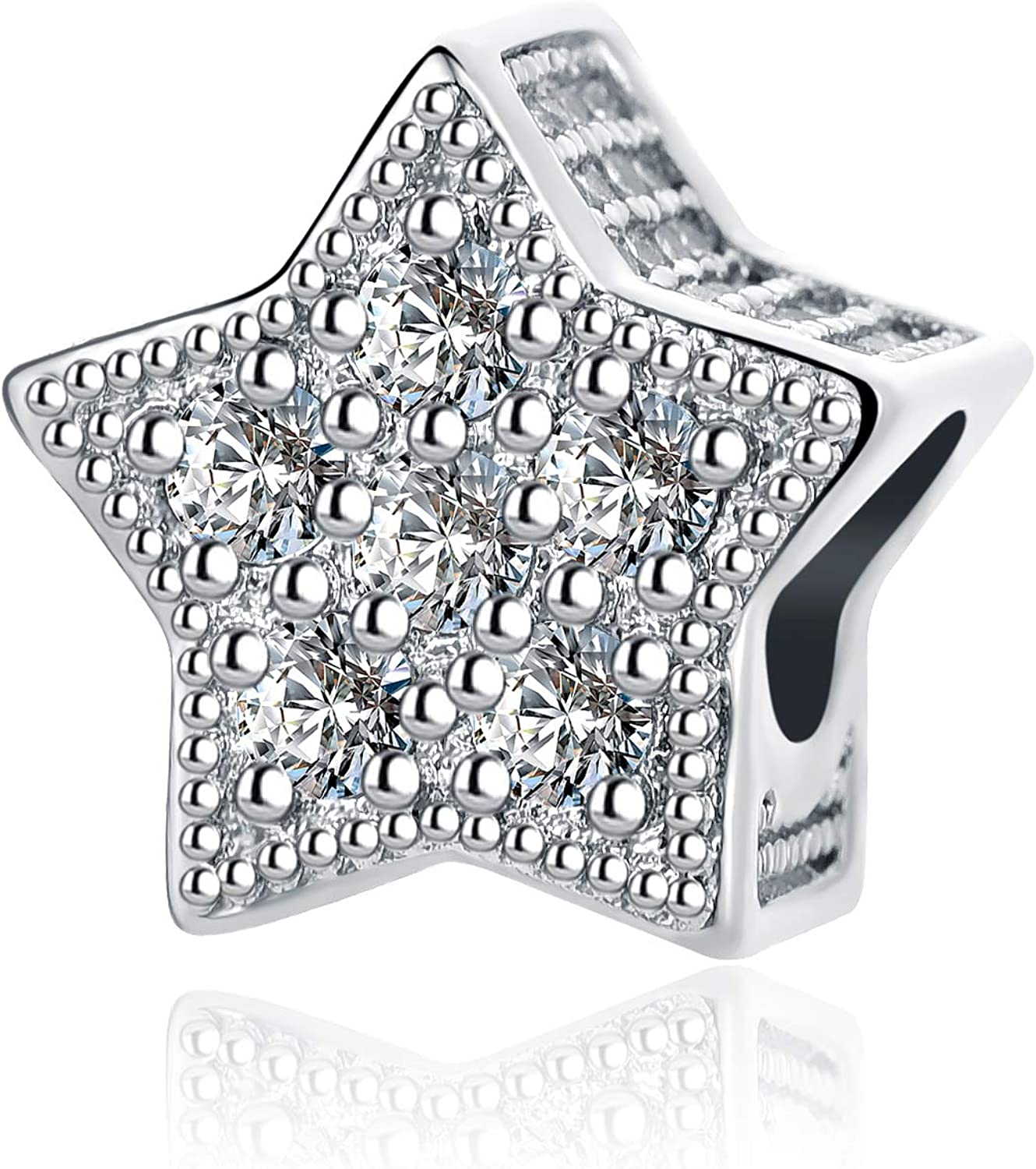 QeenseKc Inspirational Stars Charm Openwork Clear CZ Bead Mothers Day Gift fit Pandora Bracelet
