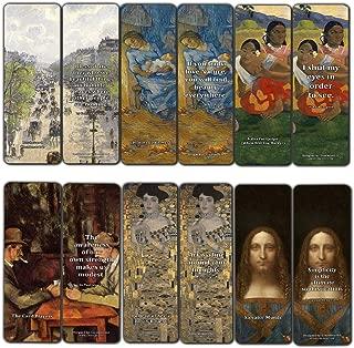 Creanoso Vintage Cards Famous Paintings Bookmarks Set (60-Pack) – Most Expensive Impressionists Art Van Gogh Klimt Salvator Mundi Paul Gauguin – Stocking Stuffers for or Men Women Teens