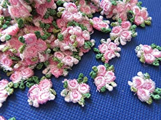 YYCRAFT Pack of 80 Embroidery Venise Lace Rose Flower Applique/Dress/Trim/sewing-Pink