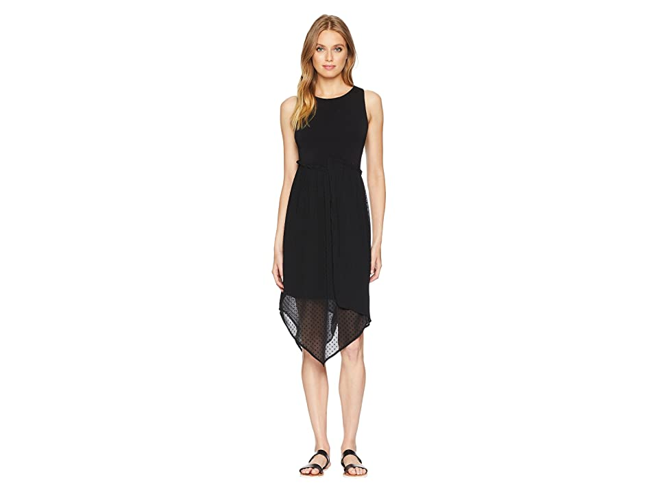 kensie Mixed Media Knit and Swiss Dot Asymmetrical Hem Dress KS7K8230 (Black) Women