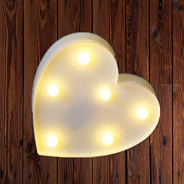LED Marquee Number Lights Sign Light Up Marquee Letter Lights Sign For Night Light Wedding Birthday Party Battery Powered Christmas Lamp Home Bar Decoration Heart White