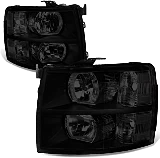 For 07-14 Chevy Silverado Pair Black Housing Smoked Lens Clear Corner Headlight/Lamps