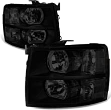 Pair of Black Housing Smoked Lens Clear Corner Headlight Assembly Lamps Replacement for Chevy Silverado 1500-3500 07-14
