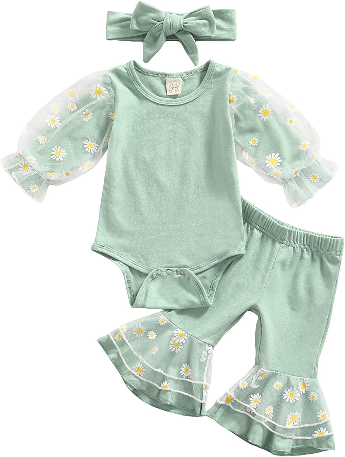 3 Pcs Daisy Pattern Outfits Baby Girls Mesh Patchwork Playsuit Flared Pants Headband: Clothing, Shoes & Jewelry
