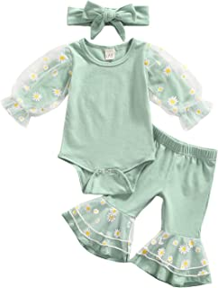 3 Pcs Daisy Pattern Outfits Baby Girls Mesh Patchwork Playsuit Flared Pants Headband