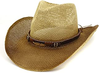 Sun Hat for men and women Men Women Outdoor Cowboy Hat Beach Hat Western Paint Denim Leaf Metal Stitching Straw Sun Hat Sunbonnet
