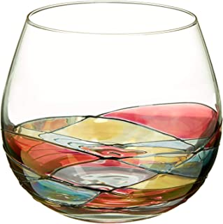 ANTONI BARCELONA Stemless Wine Glasses Set of 4 (21.5 Oz) - Handblown & Handmade, Painted Red Wine Glass, Gifts for Women, Birthdays, Anniversaries, and Weddings - 4 Units