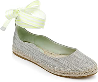 ZAC Zac Posen Women's Ballet Flat Espadrille with Ribbon Ankle tie
