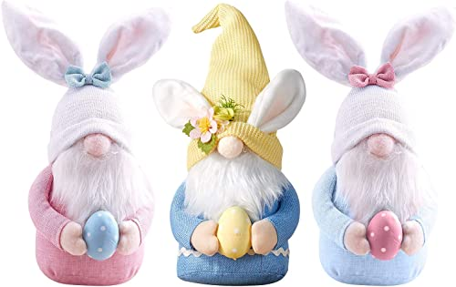 high quality 3Pcs Easter Gnome new arrival Bunny with Easter Egg, Handmade Plush Easter Faceless Ornaments Holding Egg, Bunny Gnomes outlet online sale Ornaments, Easter Desktop Bunny Easter Gnome, Indoor Spring Decor, Birthday Gift online sale