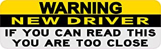 StickerTalk Warning New Driver If You Can Read This You are Too Close Vinyl Sticker, 10 inches by 3 inches