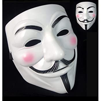 ANONYMOUS HACKER V FOR VENDETTA GUY FAWKES FANCY DRESS PARTY FACE MASK UK
