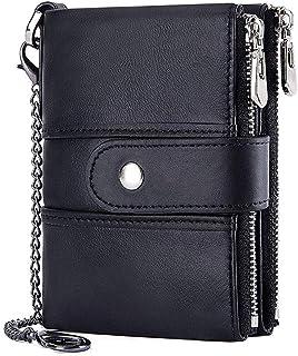 VECHOO 財布 二つ折り メンズ 小銭入れ 牛革 大容量 取り外し可能なカードケース レザー コイン ウォレットカード収納 二重ファスナー