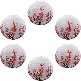 Famgee 16 Inches Blooming Red Plum Blossom Flowers Wintersweet Hanging Chinese Japanese Paper Lantern Lamps for Decoration Christmas Party Spring Festival Decor Gift Set (6 Pcs)