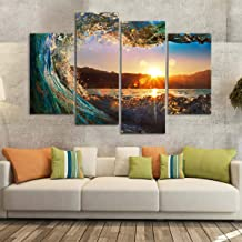 """Sunset Wave Canvas Wall Art - Ready to Hang - Lake & Mountains Picture for Adults & Kids - Large Print for Home Office, Living Room, Bedroom, Kitchen, Bathroom - Made in USA - 4 Panel 76"""" x 54"""""""
