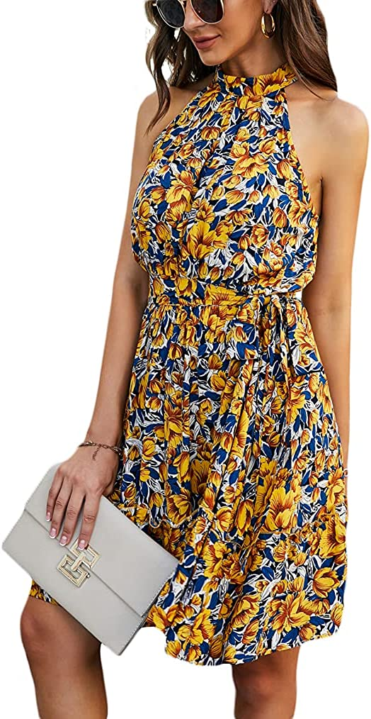 Naggoo Women's Summer Sleeveless Halter Backless Floral Print Ruffle Mini Short Dress
