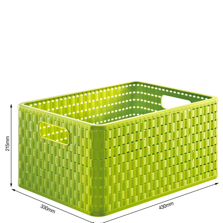 Rotho Country, Caja de almacenamiento de 18l en aspecto de ratán, Plástico PP sin BPA, verde, A4, 18l 36.8 x 27.8 x 19.1 cm: Amazon.es: Hogar