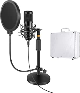 Neewer USB Microphone with Stand Kit: 192KHz/24Bit Plug&Play Cardioid PC Condenser Mic with Round Base Mic Stand, Pop Filt...