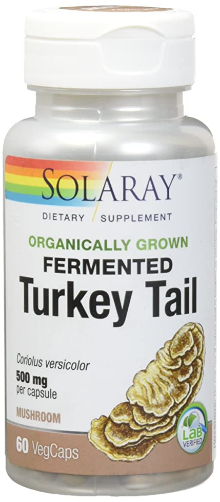 Solaray Organic Turkey Tail Mushroom Organically Grown 500 mg VCapsules, 60 Count
