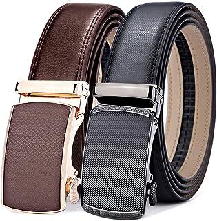 Mens Belt 2 Units Gift Pack,Bulliant Leather Ratchet Belt For Men Size Adjustable