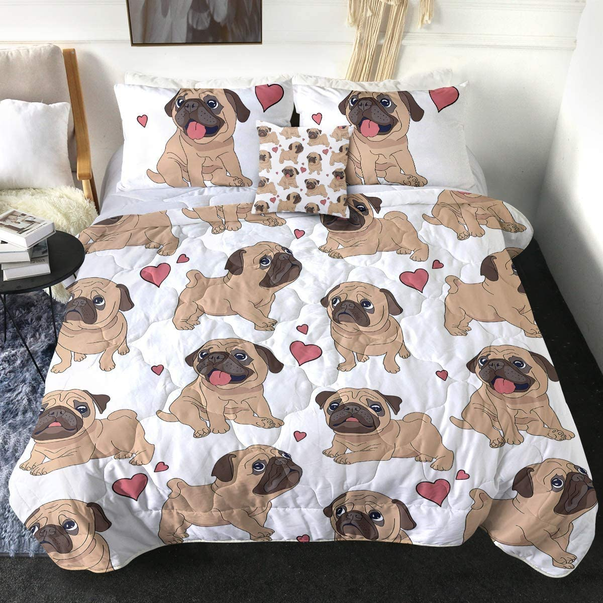 8. Cute Pet Hearts Bedding Sets with 2 Pillow Shams and 1 Cushion Cover