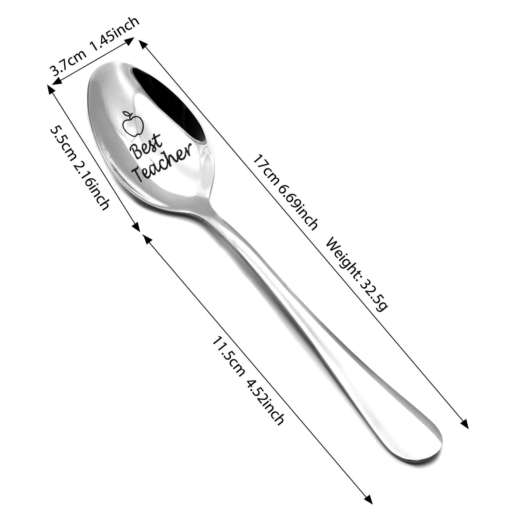 Thank You Teacher Graduation Teachers Day Gifts from Students Soup Spoon,Dinner Spoon Tea Spoon,Coffee Spoon,Ice Cream Spoon 304 Stainless Steel #1 Teacher