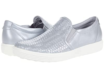 ECCO Soft 7 Woven Slip-On II (Silver Grey Metallic) Women