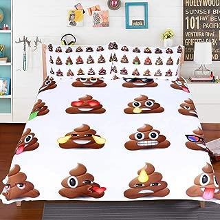 Sleepwish Cartoon Poop Emoji Face Bedding Twin Brown Poop Bed Set Kawaii Duvet Cover with 2 Poop Emoji Pillow Case