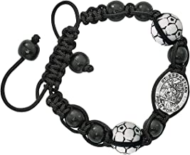 Religious Sports Bead Bracelet with Silver Toned Saint Sebastian Medal, 8 Inch