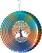FONMY Stainless Steel Wind Spinner-3D Laser Cut Hand Painted with Color Sparkling Powders Indoor Outdoor Garden Decoration Crafts Ornaments 12Inch Multi Color Life Tree Wind Spinners