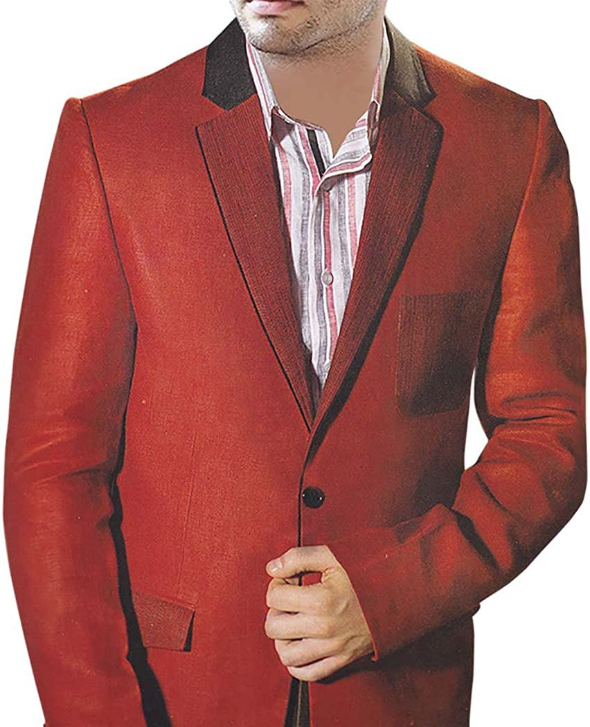 INMONARCH Mens Red Linen 2 Pc Suit One Button LS38