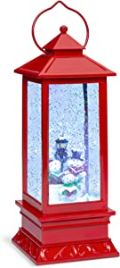 Best Choice Products Pre-Lit Battery Operated Glitter Snow Globe Christmas Lantern Holiday Decoration w/Snowman
