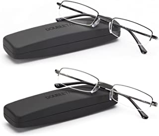 DOUBLETAKE Reading Glasses - 2 Pairs Compact Case Included Semi Rimless Readers
