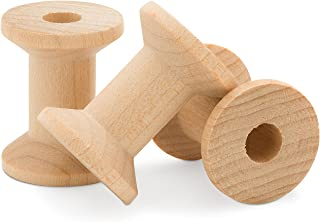 2 x 1-3/8 Inch Large Unfinished Wood Spools, Pack of 12 Wooden Hour Glass Shaped Spools - Splinter Free by Woodpeckers