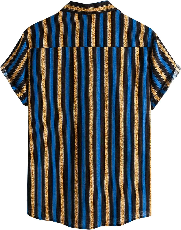 Men Summer T Shirt Short Sleeve Stripe Print Button Down Tops Casual Lapel Hawaiian Beach Tee Soft Baggy Cotton Tops