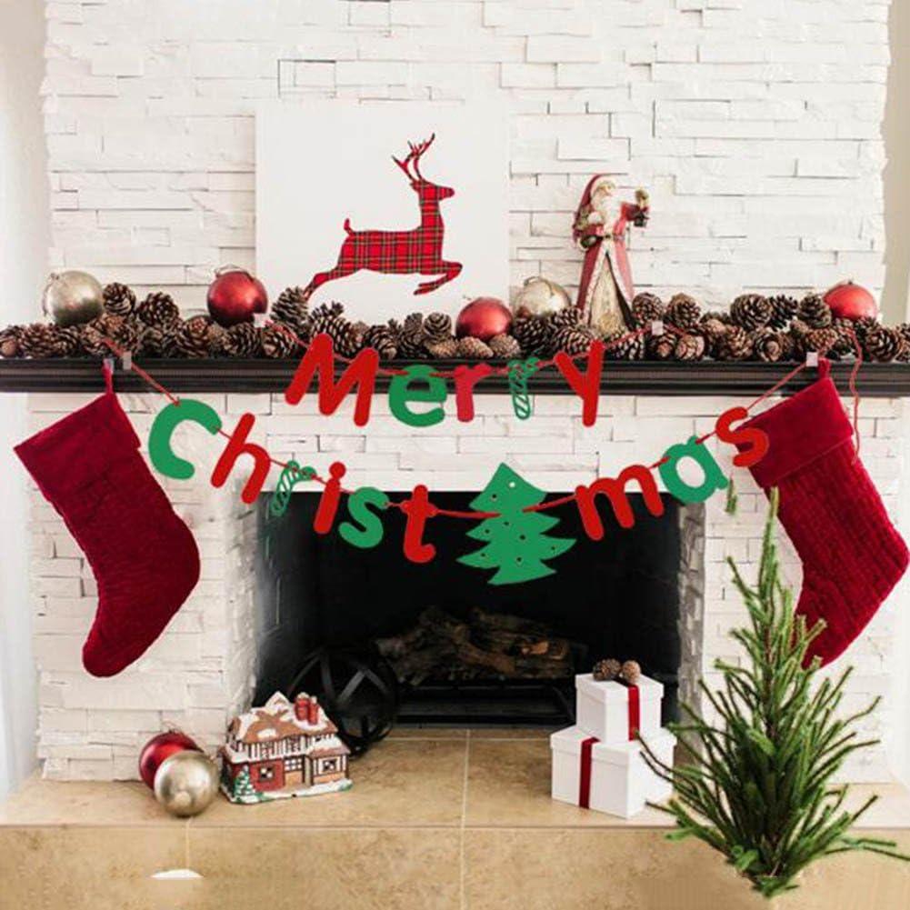 ☆ Merry Christmas ☆ Banner Banderas Navidad Guirnalda Feliz Navidad Papel Decoraci/ón Hogar Plateado