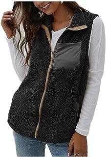 neveraway Women with Pockets Shaggy Loose Zipper Warm Vest Coats Jacket