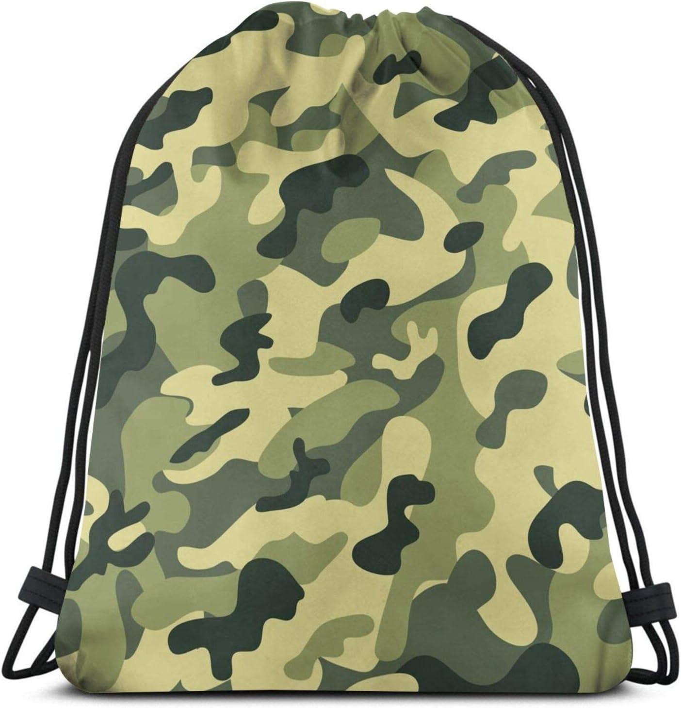 Camo Drawstring Bag Camouflage Gym Bag Sports Backpack Lightweight Waterproof Bag for Men Women Outdoor Gym Sport
