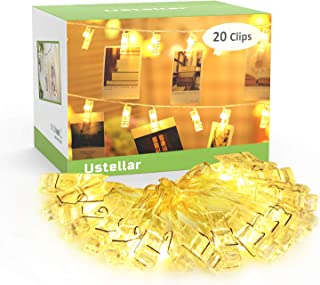 Ustellar 11.48ft 20 LED Photo Clips String Lights, Waterproof Battery Operated Fairy Twinkle Lights for DIY Wedding Party ChristmasDecoration, Bedroom Hanging Photos, Cards and Artworks, Warm White