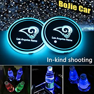 2pcs NFL Los Angeles Rams Logo LED Car Cup Holder Lights for All Auto Models, 7 Colors Changing USB Charging Mat Luminescent Cup Pad, LED Interior Atmosphere Lamp Decoration Light,for NFL Fan