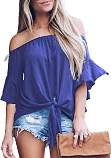 Asvivid Womens Striped Off The Shoulder Tops 3 4 Flare Sleeve Tie Knot Blouses and Tops