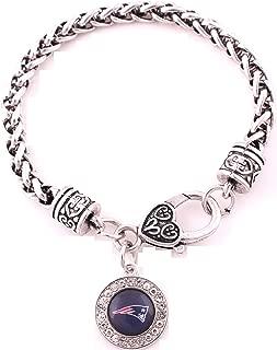 New England Patriots Zinc Alloy Bracelet with Round Rhinstone Patriots Charm 7 inch