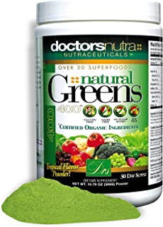 Natural Greens Juice Drink Super Food by Doctors Nutra Nutraceuticals, 10.79 Ounces (306 Grams) with Certif...