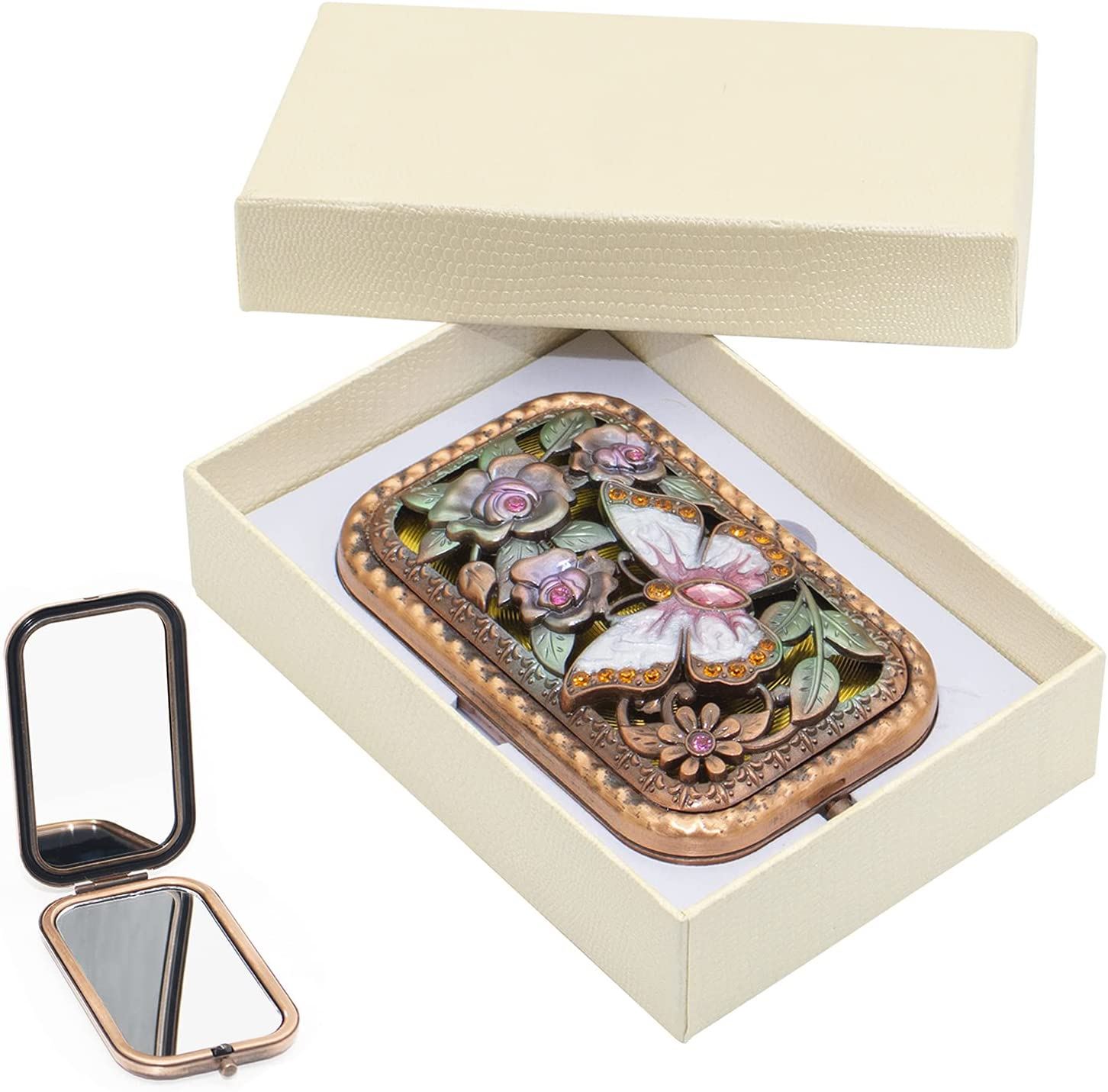 Vintage Makeup Mirror Metal Ranking TOP14 Foldable V outlet Butterfly Portable