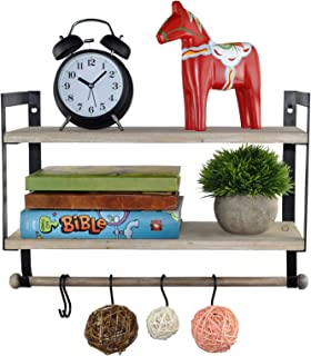 Spiretro Wall Mount 2 Tier Floating Shelves with Metal Bracket, Rustic Torched Wood with Removable Towel Rod and S Hooks t...