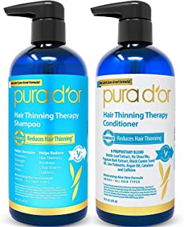 PURA D'OR Hair Thinning Therapy System - Biotin Shampoo & Conditioner Set for Hair Thinning Prevention With Natural Ingred...